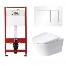 WC rėmo Tece, balto mygtuko Now ir klozeto Duravit D-Neo rimless komplektas