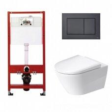 WC rėmo Tece, juodo mygtuko Now ir klozeto Duravit D-Neo rimless komplektas