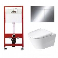 WC rėmo Tece, chromuoto mygtuko Now ir klozeto Duravit D-Neo rimless komplektas