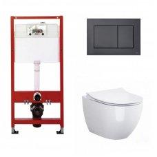 WC rėmo Tece, juodo mygtuko Now ir klozeto Opoczno Urban Harmony Rimless su plonu lėtaeigiu dangčiu komplektas