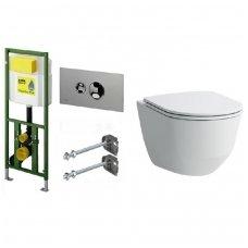 WC rėmo Viega Eco Plus ir pakabinamo klozeto Laufen Pro su Slim SC dangčiu komplektas
