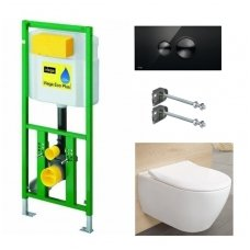 WC rėmo Viega, juodo mygtuko Visign 10 ir klozeto Villeroy $ Boch Subway 2.0 Direct Flush su plonu lėtaeigiu dangčiu komplektas