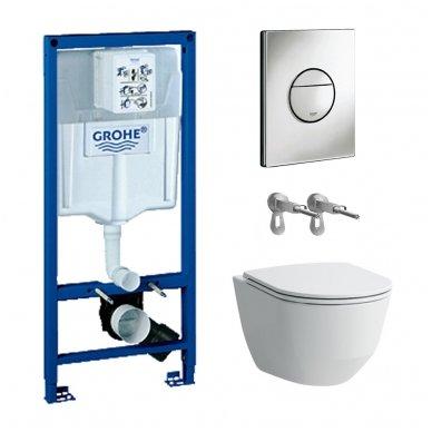 WC rėmo Grohe, mygtuko Nova Cosmopolitan ir klozeto Laufen Pro New su plonu lėtaeigiu dangčiu komplektas
