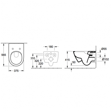 WC rėmo Sanit, chromuoto mygtuko ir klozeto Villeroy & Boch Subway 2.0 DirectFlush su plonu lėtaeigiu dangčiu komplektas 11