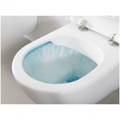 WC rėmo Sanit, chromuoto mygtuko ir klozeto Villeroy & Boch Subway 2.0 DirectFlush su plonu lėtaeigiu dangčiu komplektas 6