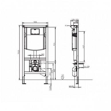 WC rėmo Sanit, chromuoto mygtuko ir klozeto Villeroy & Boch Subway 2.0 DirectFlush su plonu lėtaeigiu dangčiu komplektas 10