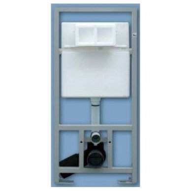 WC rėmo Sanit, chromuoto mygtuko ir klozeto Villeroy & Boch Subway 2.0 DirectFlush su plonu lėtaeigiu dangčiu komplektas 2