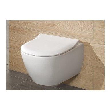 WC rėmo Sanit, chromuoto mygtuko ir klozeto Villeroy & Boch Subway 2.0 DirectFlush su plonu lėtaeigiu dangčiu komplektas 5