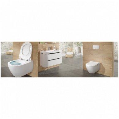 WC rėmo Sanit, chromuoto mygtuko ir klozeto Villeroy & Boch Subway 2.0 DirectFlush su plonu lėtaeigiu dangčiu komplektas 9