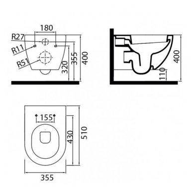WC Rėmo Sanit ir pakabinamo klozeto Ravak Uni Chrome Rim komplektas 12