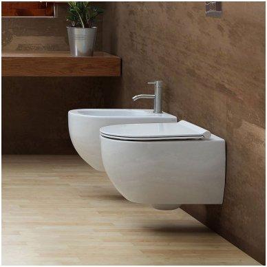 WC Rėmo Sanit ir pakabinamo klozeto Alice Ceramica Unica Rimless komplektas 5