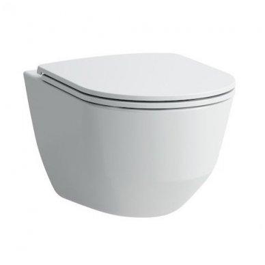 WC rėmo Tece, juodo mygtuko Now ir klozeto Laufen Pro Rimless su plonu lėtaeigiu dangčiu komplektas 4