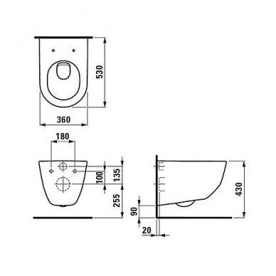 WC rėmo Tece, juodo mygtuko Now ir klozeto Laufen Pro Rimless su plonu lėtaeigiu dangčiu komplektas 10