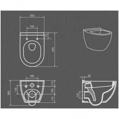 WC rėmo Tece, juodo mygtuko Now ir klozeto Opoczno Urban Harmony Rimless su plonu lėtaeigiu dangčiu komplektas 13