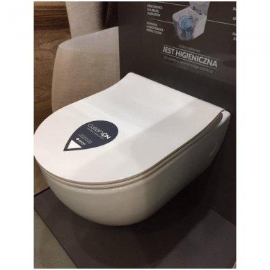 WC rėmo Viega, juodo mygtuko Visign 10 ir klozeto Opoczno Urban Harmony Rimless su plonu lėtaeigiu dangčiu komplektas 10