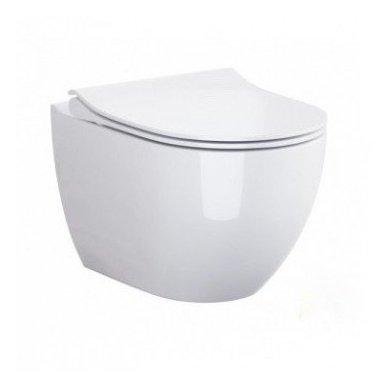 WC rėmo Viega, juodo mygtuko Visign 10 ir klozeto Opoczno Urban Harmony Rimless su plonu lėtaeigiu dangčiu komplektas 5