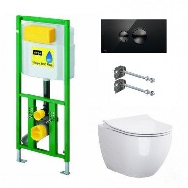WC rėmo Viega, juodo mygtuko Visign 10 ir klozeto Opoczno Urban Harmony Rimless su plonu lėtaeigiu dangčiu komplektas