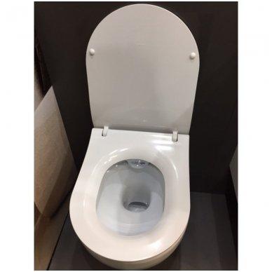 WC rėmo Viega, juodo mygtuko Visign 10 ir klozeto Opoczno Urban Harmony Rimless su plonu lėtaeigiu dangčiu komplektas 7